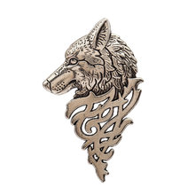 Fashion 1Pcs Terrible Wolf Beads Brooch Classic Charm Brooches High Quality Accessories Simple Gold & Silver All-match(China)