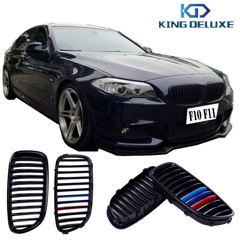 ФОТО 2pc Gloss Black M-Color Wide Kidney Front Grill Grilles For BMW F10 F11 F18 528i 530i 550i 2011-IN Car Styling #P32