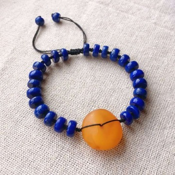 7.4mm Natural Lapis Lazuli Gemstone Bracelet With Pendant For Woman Female Gift Bless Crystal Stretch Bracelet AAAAA Certificate