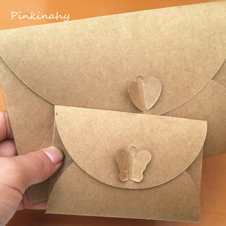 50pcs Lot Colored Butterfly Heart Buckle Kraft Paper Envelopes