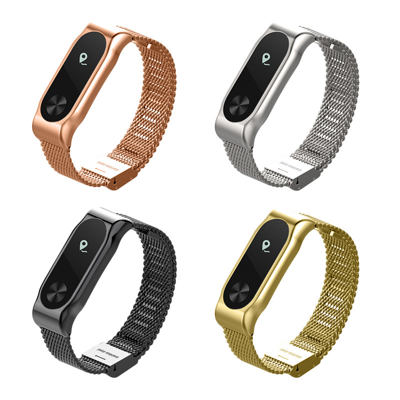 FOHUAS Bracelet En Métal Pour Xiaomi Miband 2 Bracelets Bracelet Pour Mi Bande 2 Smart Bracelet Accessoire Noir Argent Or Rose Rose