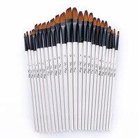 24 Pcs Set Peak Flat Nylon Hair Wooden Handle Oil Paint Watercolor Brush Set Art Acrylic