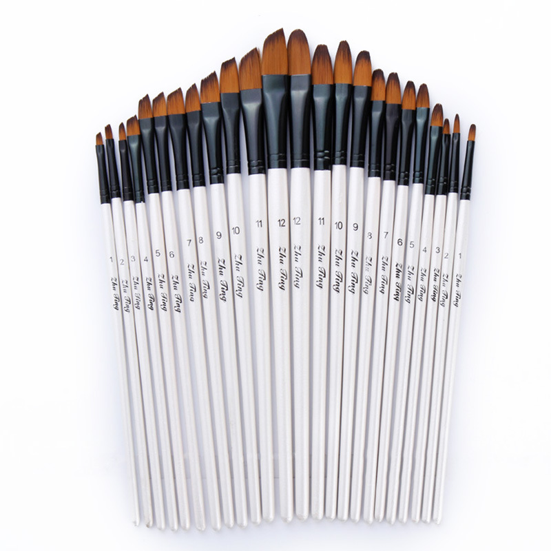 12/24Pcs Peak Flat Nylon Hair Wooden Handle Oil Paint Watercolor Brush Set Art Acrylic Painting Supplies