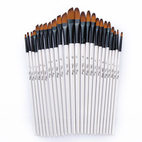 24 Pcs Set Peak Flat Nylon Hair Wooden Handle Oil Paint Watercolor Brush Set Art Acrylic