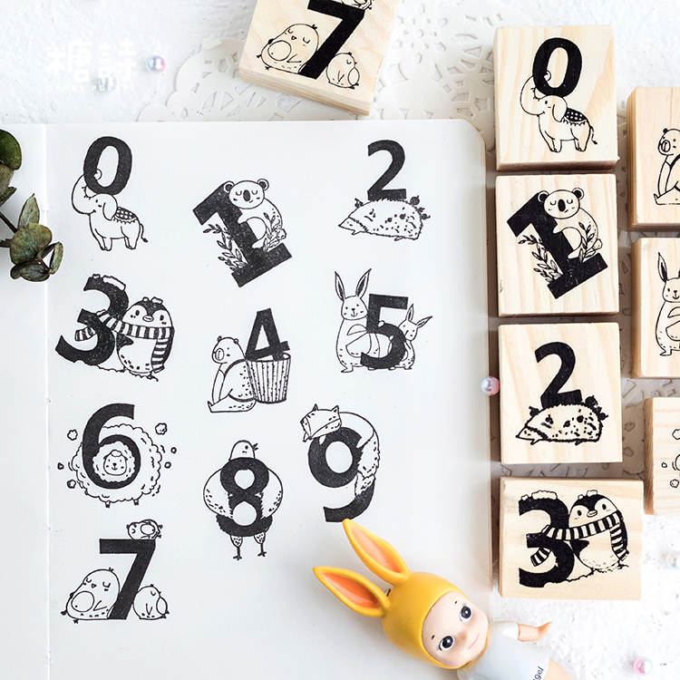 Number Animals Wood Stamp Diy Craft Wooden Rubber Stamps For Scrapbooking