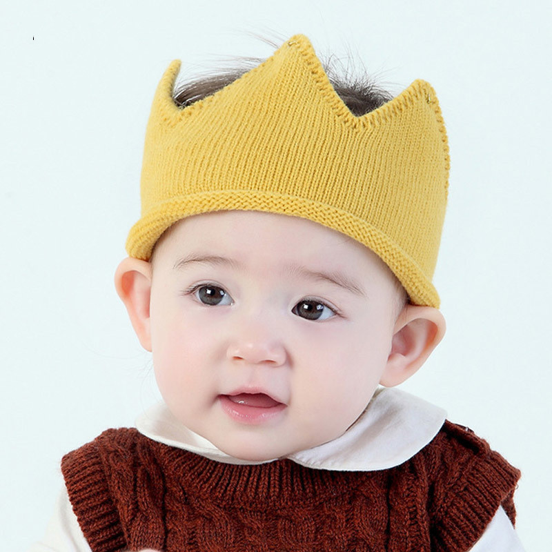 Children Sweater Birthday Hat Kids Baby King Great Crown Hats Kid Girls Boys Knitted Caps Lovely   Beanie   Photo Props Hat