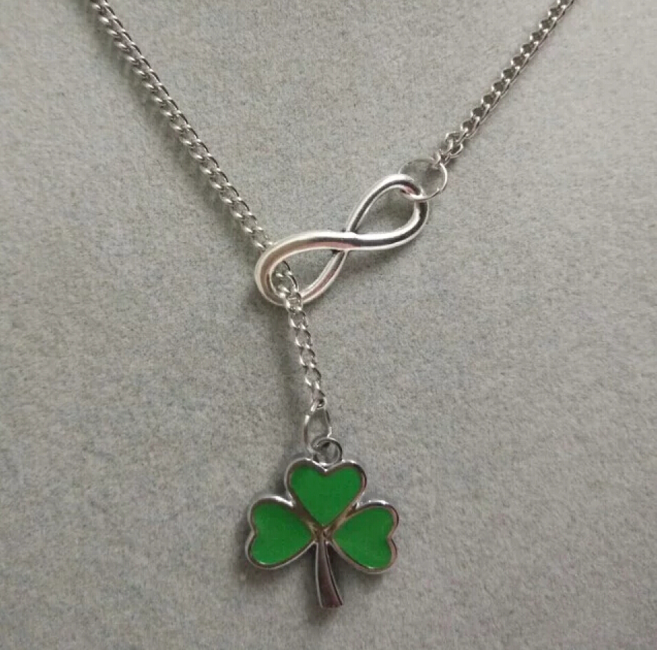 Green lucky shamrock necklace four leaf clover charm emerald green - Lucky 8 Alloygreen 3 Leaf Clover Irish Shamrock Cord Fashion Vintage Silver Charm Sweater Chain Necklace