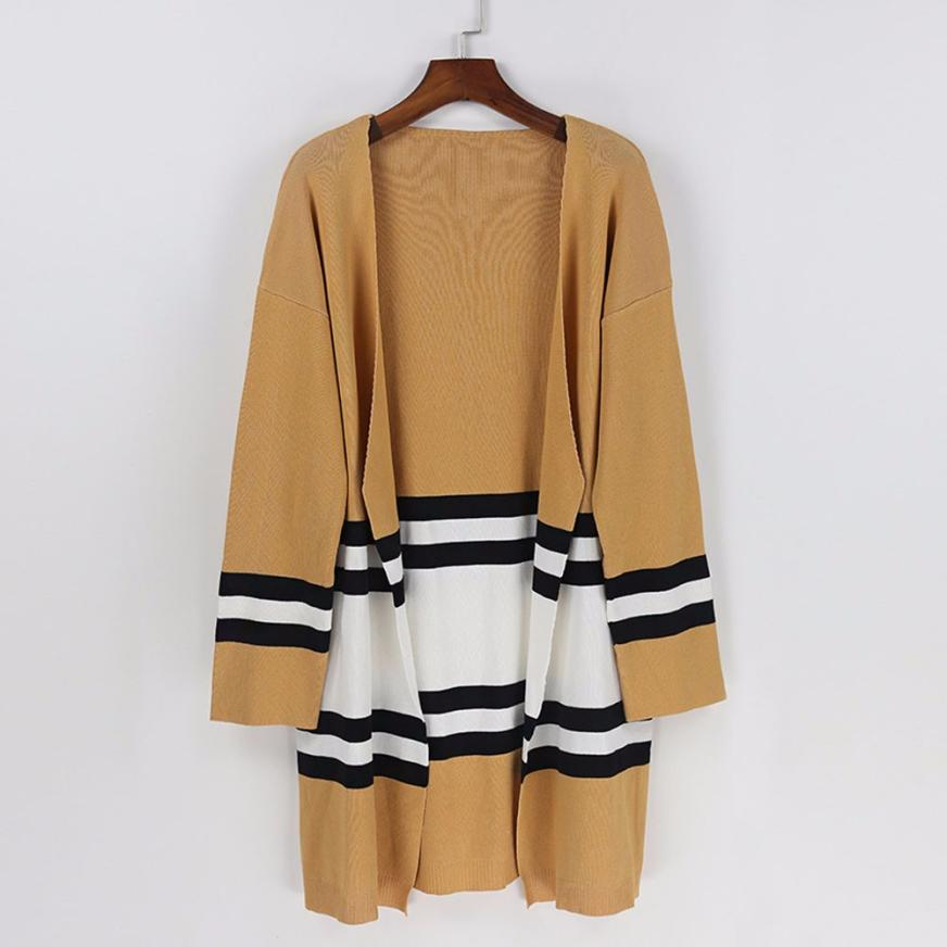 4ec99777cc3f JAYCOSIN 2018 Women Coats Autumn Winter Long Sleeve Loose Casual Striped  Sweater Cardigan Coat j24-in Trench from Women s Clothing   Accessories on  ...