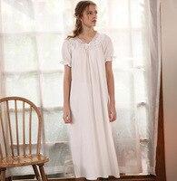 Vintage Nightgown Female Autumn Cotton Sleepwear Sweet Lady Arab Women Lace Long Nightgown 2018 New Fashion Sleepwear For Women