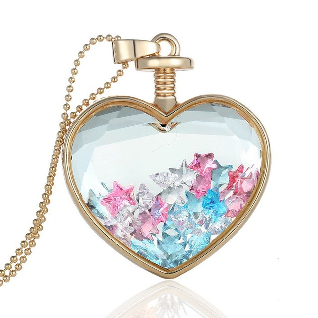 star inside memory glass locket necklaces pendant for women