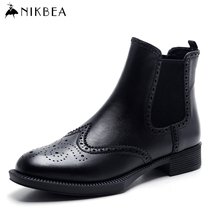 Chelsea NIKBEA 2017 Primavera Botas de Moda Botines de Cuero Genuino para Las Mujeres Zapatos de Mujer Botines de Tacón Bajo de Cuero Real Negro