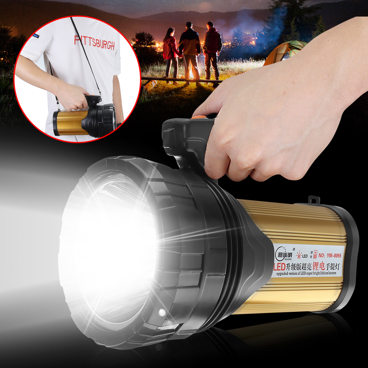 120W LED Portable Spotlight Lantern Searchlight Rechargeable Handheld High Power Portable Light for Outdoor Camping