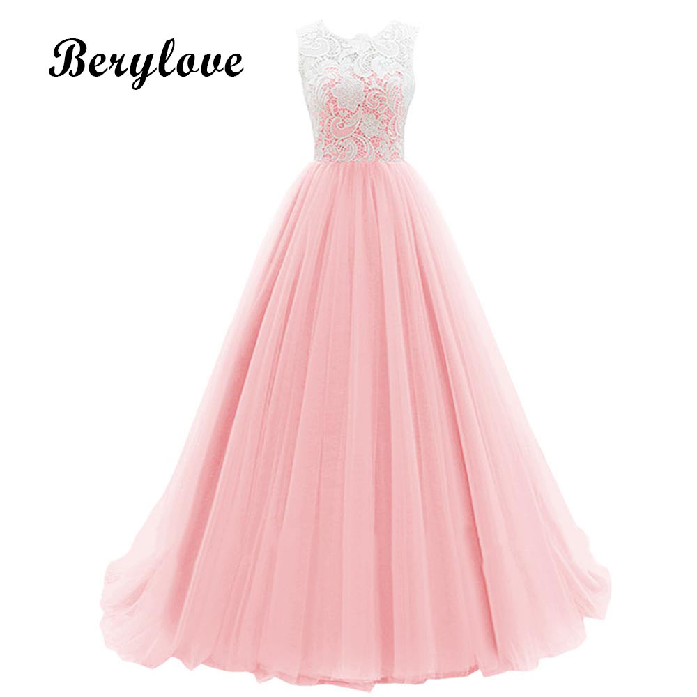 BeryLove Elegant Ball Gown Pink Evening Dresses 2018 Lace Prom ...