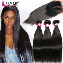 Human Hair 3 Bundles With Closure Brazilian Straight Hair Bundles With Closure 4 * 4 Säg mig Remy Hair Weave Bundles 4 st / Lot