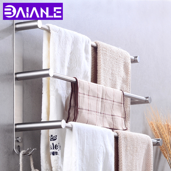 Bathroom Towel Bar Holder Stainless Steel Three Layer Towel Rack Hanging Holder Wall Mounted Towel Hanger Rack with Hooks towel holder stainless steel doubel towel bar holder bathroom towel rack hanging holder wall mounted toilet clothes hanger shelf