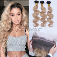 Guanyuhair 360 Lace Frontal Closure With 3 Bundles Peruvian Body Wave Human Hair Extensions Ombre #1B/27 Honey Blonde