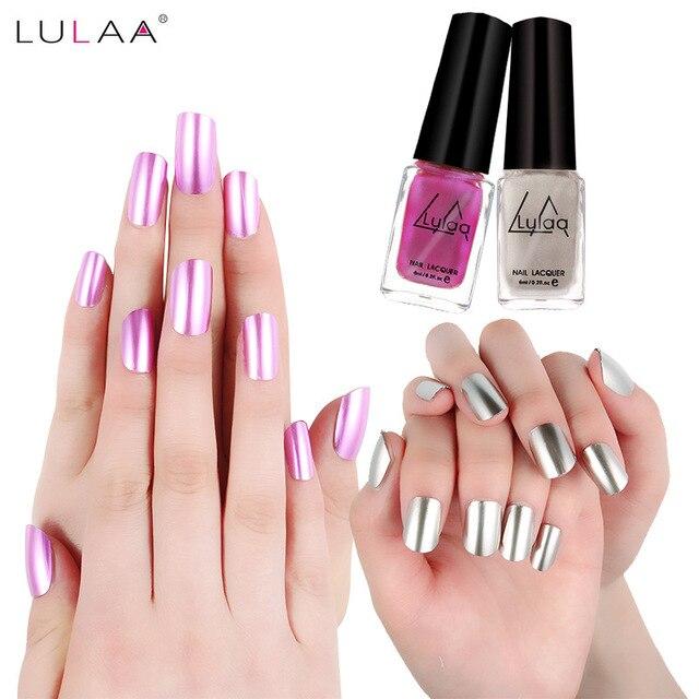 Lulaa 5 colores metálicos Esmaltes de uñas larga duración efecto ...