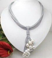Gorący bubel Szlachetny-DARMOWA WYSYŁKA 10-12mm Prawdziwe Biały Freshwater Pearl Naszyjnik Przewód Skóry Magnes Zapięcie moda Jewelr