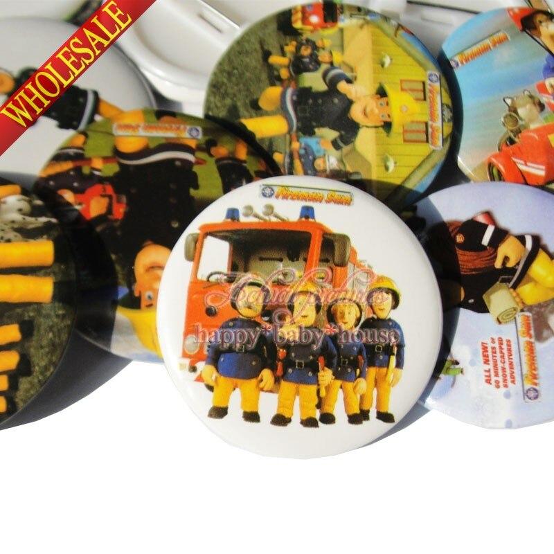 Badge Holder & Accessories Office & School Supplies Fireman Sam Cartoon Printed Badges Round Brooch 3.0cm Pin Buttons Clothes Hat Bag Accessories Kids Diy Craft Birthday Gift Fine Craftsmanship