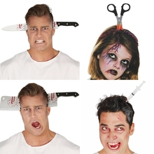 Funny Scary Toys Halloween Perform Props Axe Saw Nail Knife Headwear Fake Blood Scene Halloween Party Headband Decoration цена в Москве и Питере