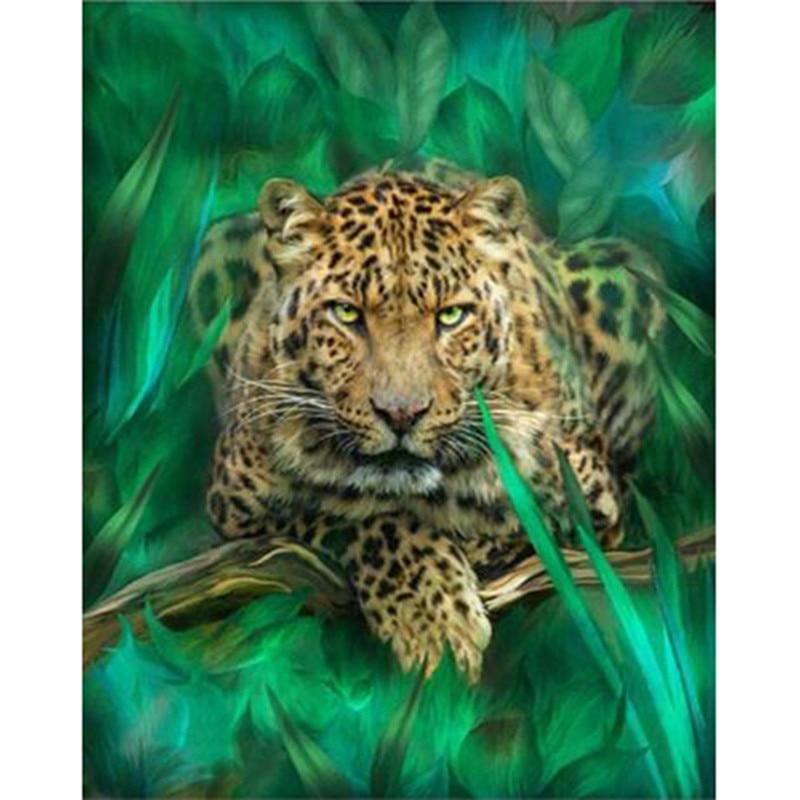 ⊱Nueva DIY 3D diamante mosaico animal leopardo hecho a mano Cuadros ...