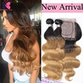 Amazing Hair Products Ombre Peruvian Hair Wet And Wavy Human Hair With Closure Blonde Ombre Virgin Hair Body Wave With Closure