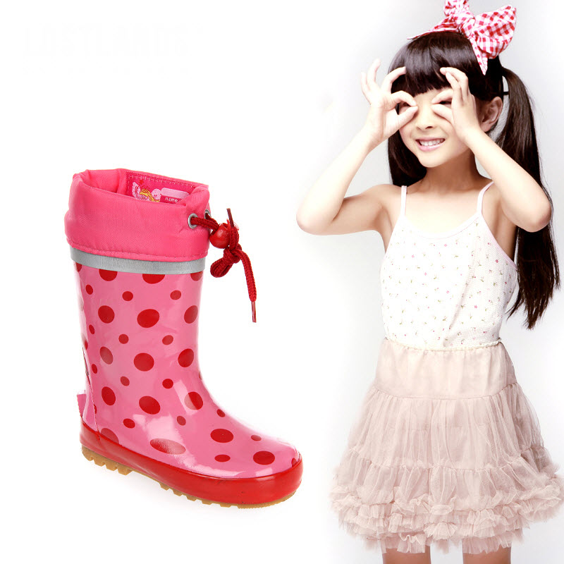 Kids Rain Boots Girls children pink Polka Dot Overshoes Flat Water Shoes Rubber Student Shoes Outdoor Girls Waterproof Rainboots стоимость