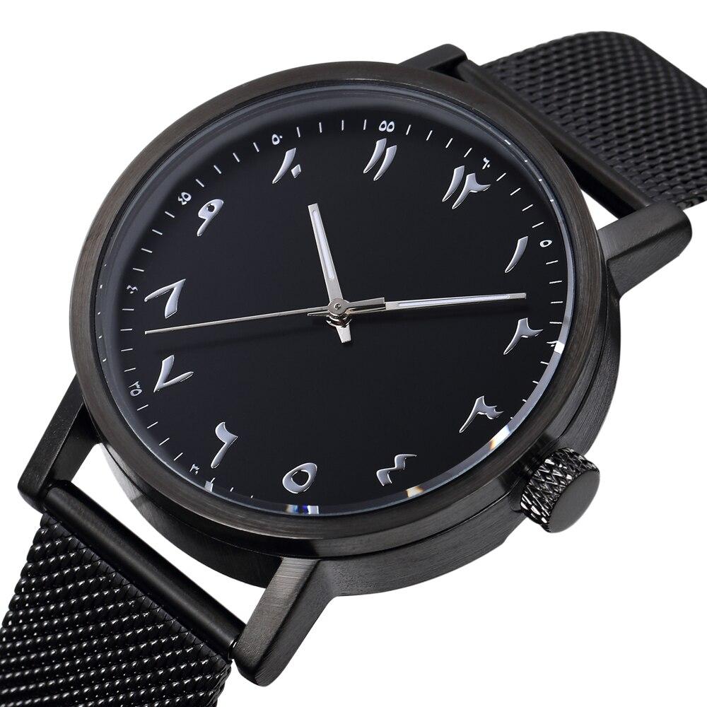 Sweden Design Fashion Unisex Arabic Numerals Watch Stainless Steel Mesh Strap