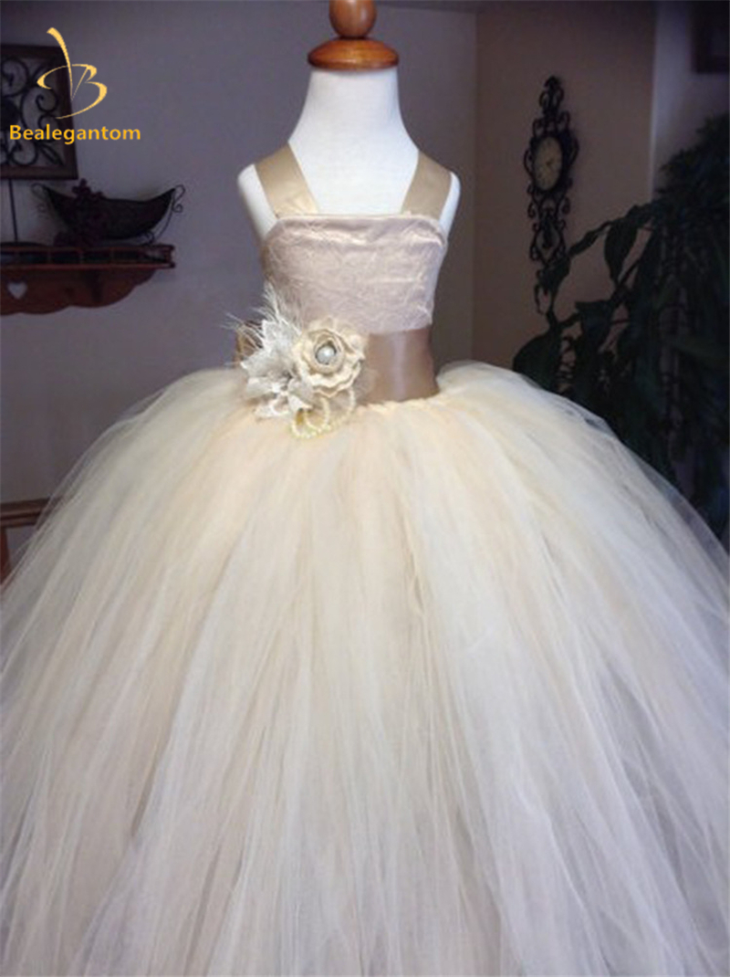 Bealegantom 2018 Ball Gown Flower Girl Dresses With Bow Appliques ...