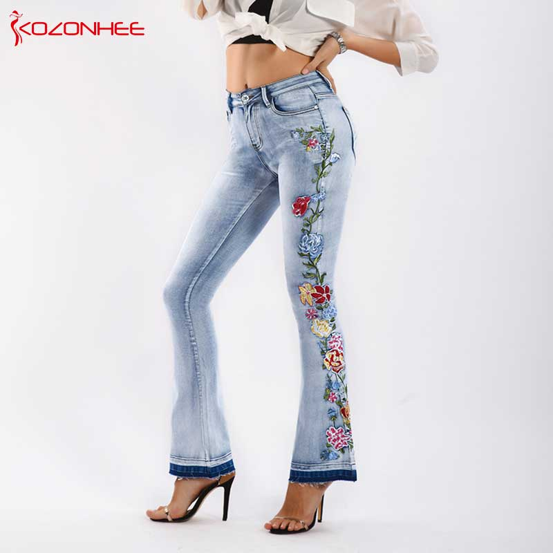 Embroidery Stretching Flare   Jeans   Women Elasticity Bell-Bottoms   Jeans   For Girls Light Blue Trousers women   Jeans   Large Size #07