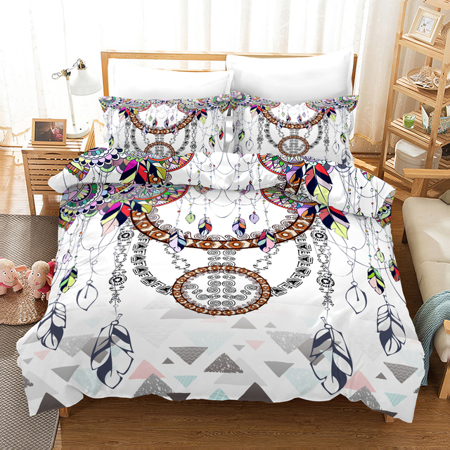 Fanaijia 3d Dreamcatcher Bedding Set King Size Feather Bohemian Duvet Cover with Pillowcase  Full Size Bed Set
