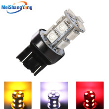 цена на T20 7443 White /Red /Amber / Yellow 13 SMD 5050 Stop Tail Brake Signal 12V 13 LED Car Light Bulb parking Car Light Source