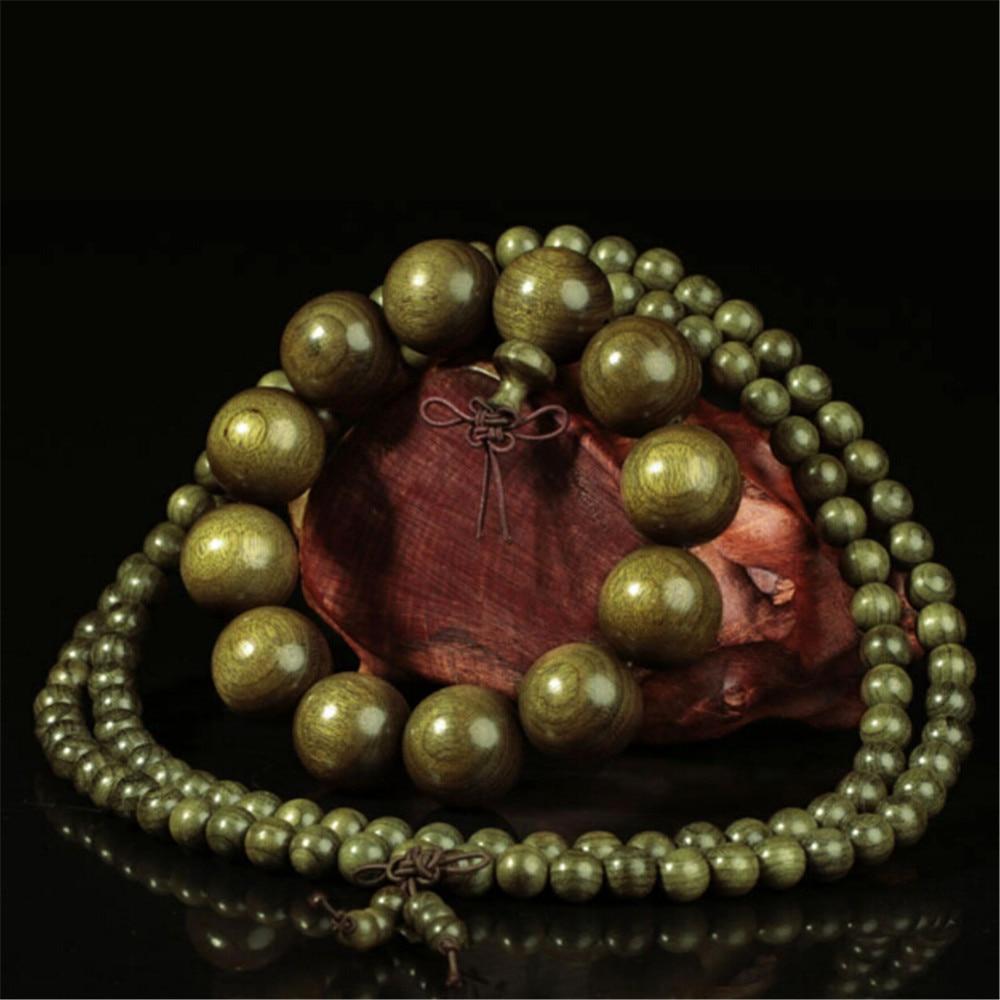 Wholesale 10pcs Natural Golden Silk Nanmu 8mm 108 Prayer Mala Ebony Old Material Cat Eyes Buddha