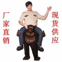 New Teddy Bear Stuffed Ride on Me Orangutan Mascot Back Fancy Dress Up Party Costume Fantasia Adult Festival Clothes