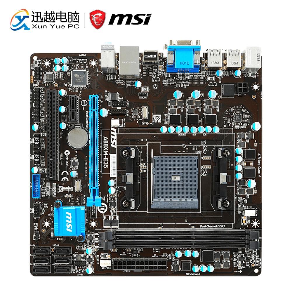 MSI A88XM-E35 Desktop Motherboard A88X Socket FM2/FM2+ DDR3 SATA3 USB3.0 Micro-ATX цена