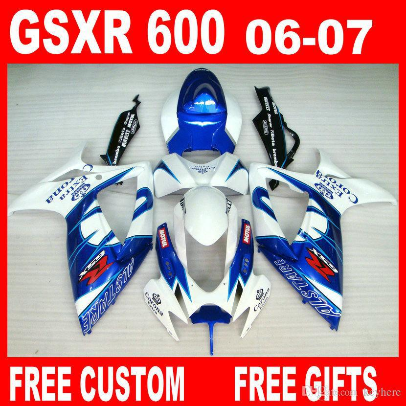 Injection Fairings kit for SUZUKI  fairing K6 100% fit 2006 2007 GSXR 600  R750 06 07 OEM color.