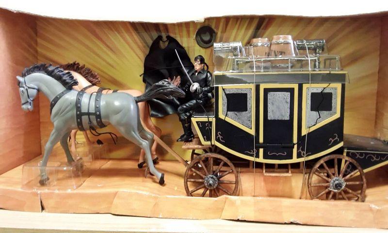 Hors d'impression 1:12 surdimensionné 6 pouces cheval de guerre calèche Zorro modèle jouet artisanat ornements modèle