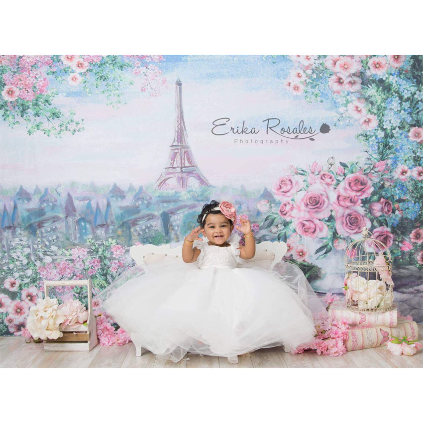 MEHOFOTO Vinyl Photographic Backdrop Floral Oil Printed Eiffel Tower Pink Rose European Castle Children Backgrounds Photo Pro ювелирное украшение из шифона eiffel tower с бриллиантами от 18s rose golds
