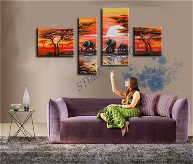 The Latest Indian Scenery Home Decoration Paintings Wholesale Cheap Abstract Landscape Wall Art Oil Painting Elephants
