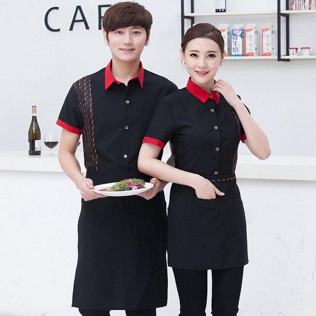 New Design Waiter Overalls Hotel Work Uniform Women Chinese Restaurant Teahouse Chef