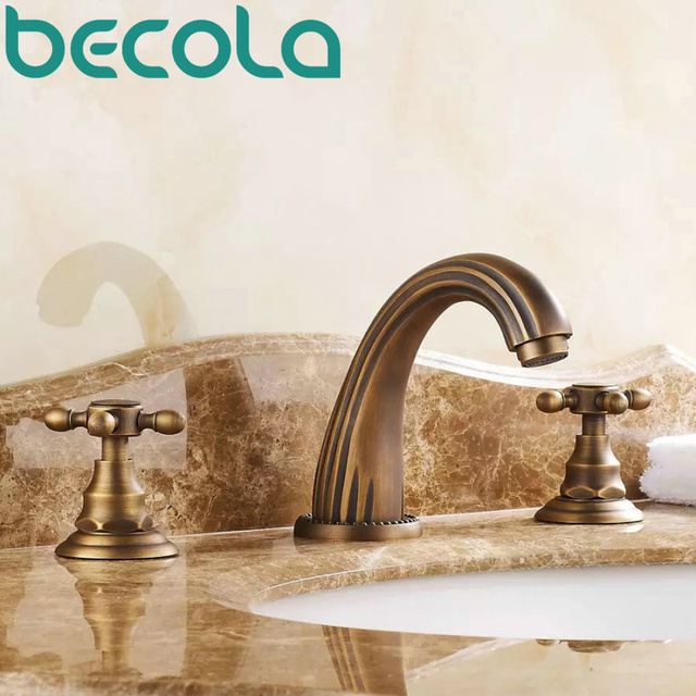 Free Shipping Antique Brass Bathroom Faucet Double Handle Three Piece Hot  And Cold Water Basin Taps