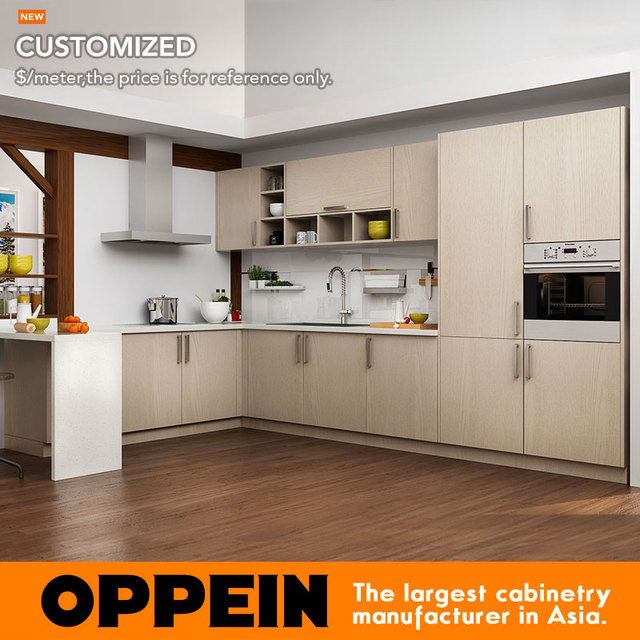 Kitchen Design Light Wood Cabinets: Oppein Modern Light Wood Grain Kitchen Cabinet (OP16 M07)-in Kitchen Cabinets From Home