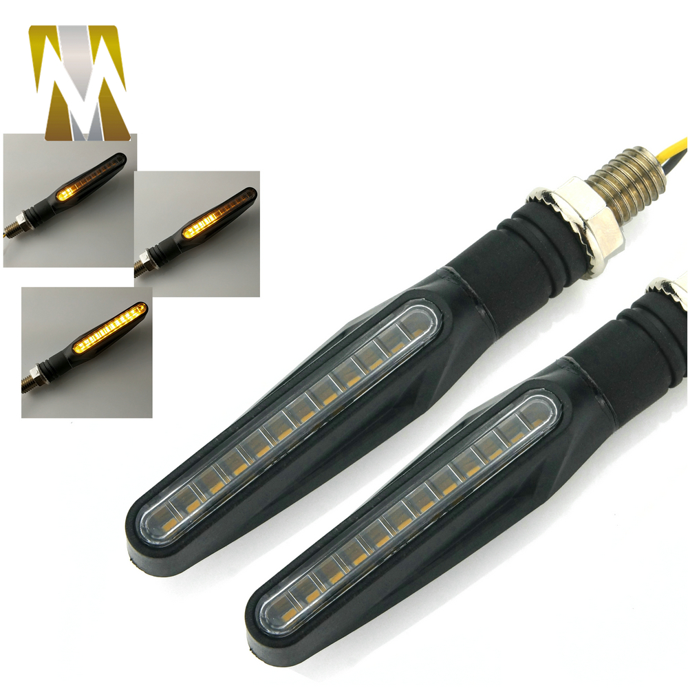 1 Pair Flowing Water Motorcycle Turn Signal Light Turning Direction Indicator Blinker Flasher FOR Yamaha With 10mm Bolts