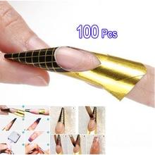 100 Pcs Nail Form Tips Nail Art Guide Form for Acrylic UV Gel Tip Nail Extension