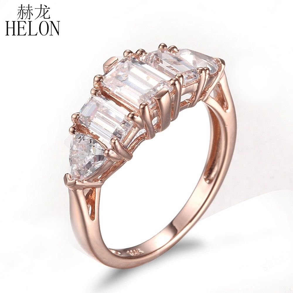 HELON Sterling Silver 925 Flawless AAA Graded Cubic Zirconia Emerald & Trillion Cut Three Stones Fine Wedding Ring Women Jewelry