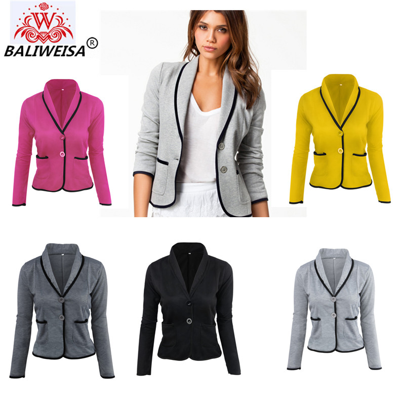 BALIWEISA Blazers Suits Women 2017 Plus Size S-6XL Slim Long Sleeve Black Ladies Suits Spring Autumn College Style Pocket Coat