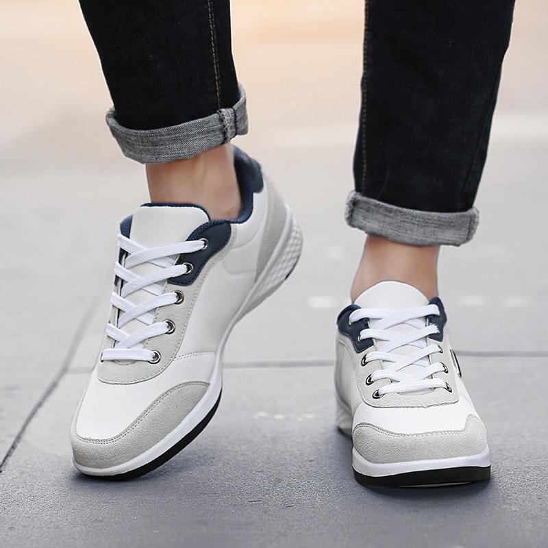 Casuales Nuevos gray Negro La Blanco Al Zapat De white 2019 Aire Microfibra Libre Hombre Zapatos Los Y Cuero Moda Primavera Blue Hombres xRwwPq4