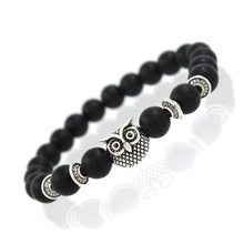 2017 New Owl Natural Stone Beads Bracelet & Bangle for Men Women Stretch Yoga Lava Stone Jewelry Fashion Accessories for Lovers