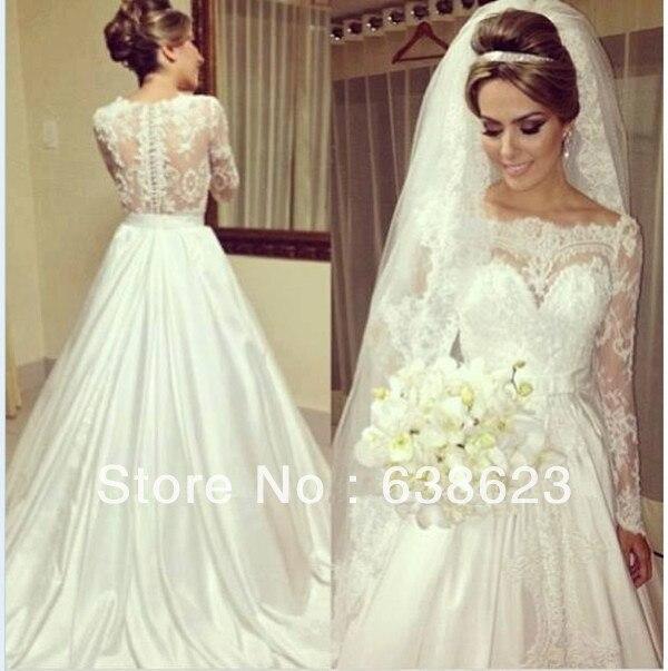 66c2d342593c AWL149 Brilliant New Fashion Bateau Neck Empire Waist Satin A Line Lace  Long Sleeves Wedding Dress Patterns