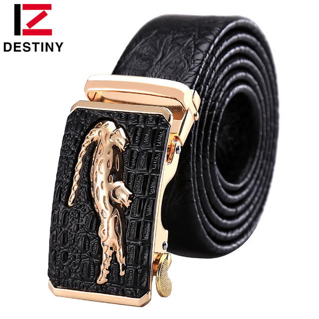 DESTINY Famous Brand Designer Genuine Leather Belt Men Crocs Luxury High Quality Wedding Strap Male Automatic Buckle Gold Brown